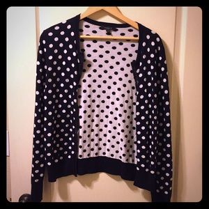 Black and white polka dot Ann Taylor cardigan